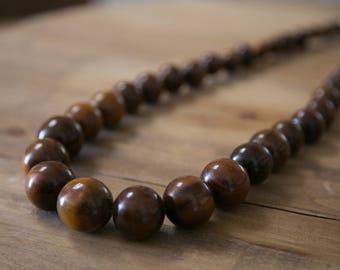 Vintage Large Wooden Beaded Necklace