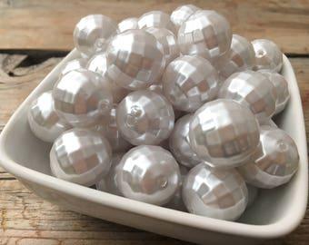 20mm White Pearl Earth Chunky Bead, Bubblegum Bead, Christmas Disco Acrylic Bead, DIY Chunky Necklace, 10 Count