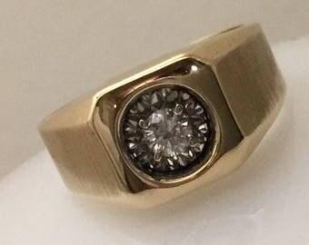 Vintage 14kt IB Goodman men's diamond ring