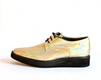 ON SALE Champaign Vegan Platform Oxford Women's Shoes - Women's Oxford Shoes - Women's Shoes - Flat Shoes -Vegan Shoes - Women's Party Shoes
