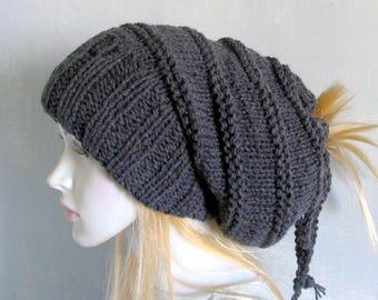 Mens Slouchy Beanie Baggy Hat Chunky Hat Men's Dreadlock Hat Slouchy Hat Handmade Gift Ideas Open Tube Hat Women Tam dreadlocks accessory