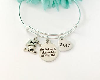 Graduation bangle  on a Silver adjustable Bangle /  she believed she could Collectable Sturdy / great gift / stackable / 2017, 2018