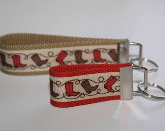 Key chain, wristlet, key fob with cowboy/cowgirl boots