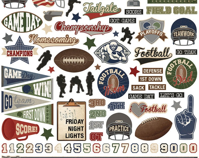 1 - 12x12 Sheet of Photo Play END ZONE Football Theme Scrapbook Element Stickers