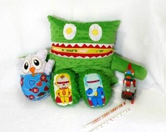 Superhero Animals Monster Pajama Eater/ Monster Pajama Holder/ Pajama Bag Stuffie/ Stuffed Monster Pillow/ Travel Buddy/ Secret Keeper