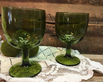 Vintage Green Wine Glasses/Thumbprint/Footed/Beer Mugs/Set of Two