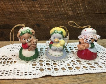Vintage Christmas Ornaments/Set of Three/Bells/Sri Lanka/Duck/Bear/Dog
