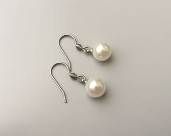 Earrings with white pearls, everyday jewelry