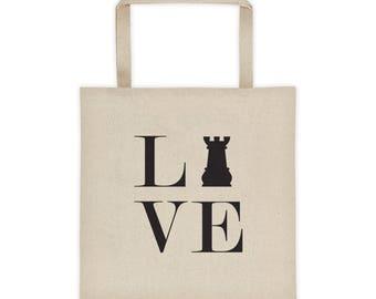 Tote bag - Live Love Chess Black Rook Tote Bag