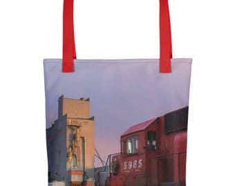 Tote bag - Red Silo Original Art - Canadian Pacific Elevator
