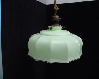 soft green antique glass lamp, pendant