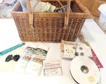 Vintage Sewing Basket Estate Lot Sewing Lot Sewing Destash Sewing Supplies Sewing Notions