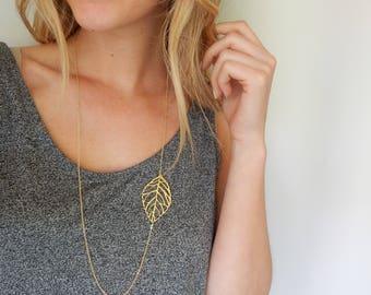 Gold Leaf Necklace | Simple Necklace | Long Necklace | Long Gold Necklace | Leaf Necklace | Pendant Necklace | Long Pendant | Side Leaf