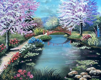 """Oil Painting canvas Landscape Spring Time  Impressionism painting 24""""x 20"""" by Nataliia Novosad beautiful garden original"""