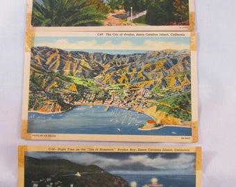 Vintage Santa Catalina Island Linen Postcards - Group of Three