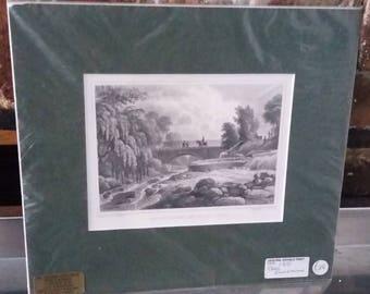 Vintage Print Stock Bridge Water of Leith Scotland Steel Engraving  1831