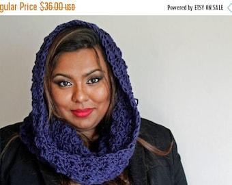 BTS Sale The Bailey Cowl Scarf, Crochet Hooded Cowl, Crochet Cowl, Hooded Cowl in Navy Blue, Soft Acrylic