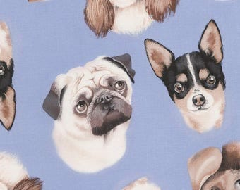 Blue Tossed Dog Faces Puppies Cotton Timeless Treasures #7012 By the Yard
