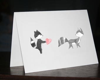 Raccoons heart - card