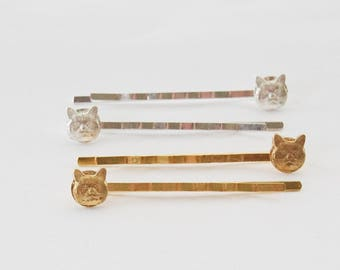 Cat Bobby Pins, Cat Lover Gifts, Cat Hair Accessories,  Cat Bobby Pins, Pet Gifts, Choose silver or gold, Kitty Hair Accessories, Cat gifts