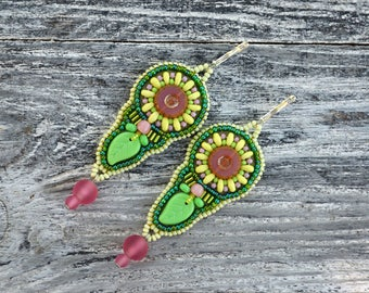 Green Leaf earrings Long Beadwork Pink Green Bead embroidery earrings Unique gifts for her Embroidered jewelry Small gifts for women under50