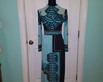 Vintage 70'S Paganne Gene Berk Maxi Dress