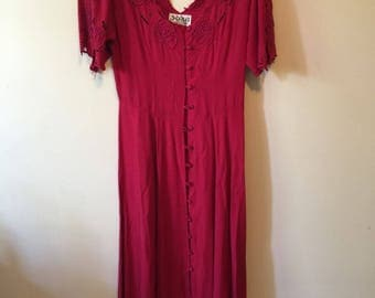 Red buttoned dress, floor length with extensive beading (Hibis Lace Works label)