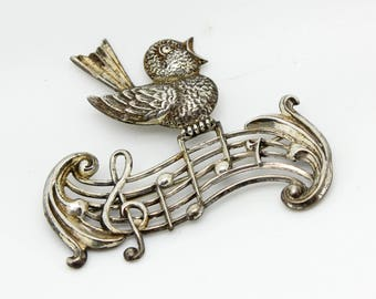 Vintage BEAU Sterling Silver Double MUSIC NOTES Singing Bird Pin Brooch-Eighth Notes-Music Teacher Singer Gift-Estate Jewelry!