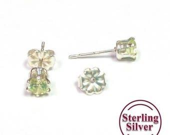 Lime CZ Sterling Silver Stud Earrings