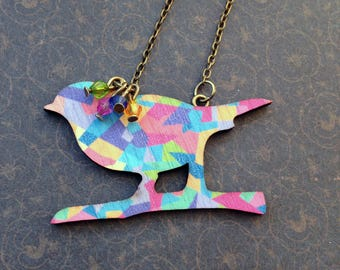 """Bird on a colorful branch"" necklace"