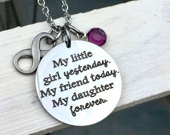 My Daughter Forever ,family,love,necklace,mother and daughter, mothers day, gift, mom, little girl, wedding, bride