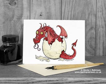 New Baby Card, Red Dragon, Welsh Dragon, New Baby Boy, New Baby Girl, Baby Congratulations Card, Baby Announcement, Dragon Birthday Card