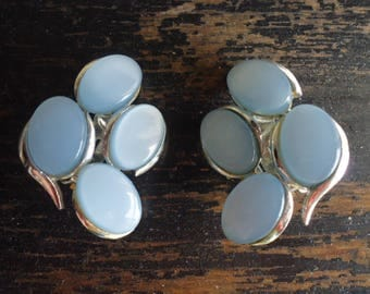 Blue Thermoset Clip On Earrings