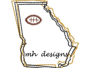 State of Georgia with Football embroidery design, Vintage stitch state of Georgia, Georgia embroidery file, Bean stitch Georgia state