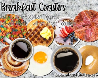 Breakfast Theme Coasters...Set of 4, 6 or 8, Coasters, Fun, Breakfast, Gift for her, gift for him, Student, College, Beverage