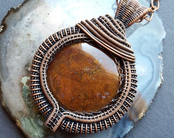 Handmade Copper Wire Wrapped Necklace with Natural Moss Agate Stone, Copper Wire Jewelry, Wire Wrapped Jewelry, Amulet of Power, Big Pendant