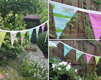 Handmade Fabric Bunting Cream/Lime Green/Pink/Turquoise Camper Van Floral/Text/Stripe Design 18 Double-Sided Flags for Home, Parties & more!