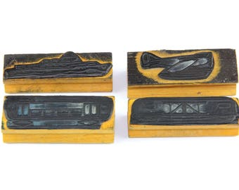 Vintage educational rubber stamps, set of 4 transport stamps