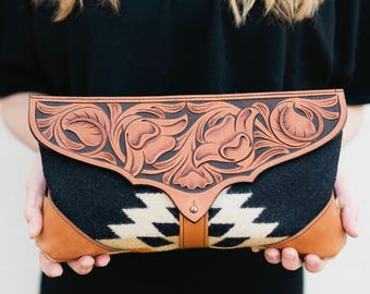 Leather Clutch / Hand Tooled Leather Purse with Pendleton® Wool Fabric