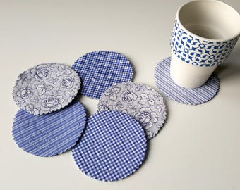 Set of six coasters, blue