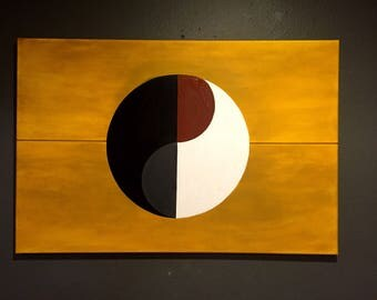 Acrylic, yin and yang, black, gold, white, grey, brown, abstract, art