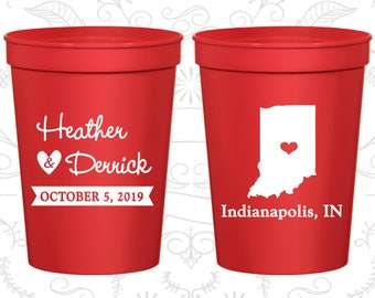 Indiana Wedding Cups, Indiana Wedding, Customized Cups ,Destination Wedding, State Cups, logo plastic cups (113)