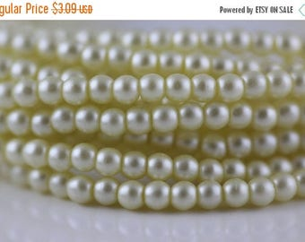 20% OFF 3mm Czech glass Pearls, Cream, round spacer beads, 100 Pcs. (cz-prl-3mm-3)