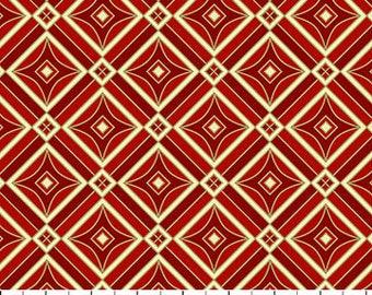 Fat Quarter Tis The Season Red and Cream Metallic Diamond 2017 Christmas Quilting Cotton Fabric Northcott