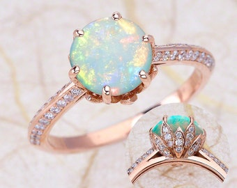 Rose Gold Engagement Rings, Opal Engagement Ring, Lotus Flower Engagement Ring, Center Is A 8mm Round Opal