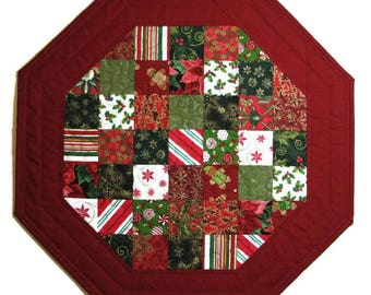 Christmas Quilted Table Topper, Holiday Scrappy Octagon Table Mat, Red Green Gold White Christmas Candle Mat, Quiltsy Handmade