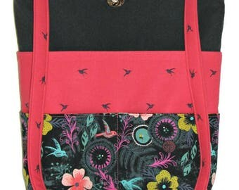 Handmade Fabric Shoulder Bag, Modern Floral Purse, Black and Pink Purse With Six Outer Pockets, Quiltsy Handmade