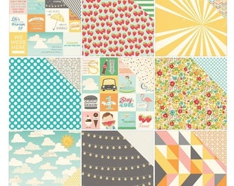 October Afternoon Summertime Collection Pattern Papers 12x12 - 18 Sheets