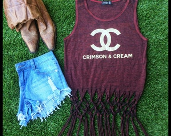 Crimson & Cream Fringe Tank -Free Ship