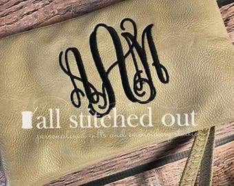 Monogram Crossbody Bag - Wristlet or clutch - Personalized Wristlet - Monogrammed Clutch - Personalized handbag - Over the shoulder bag